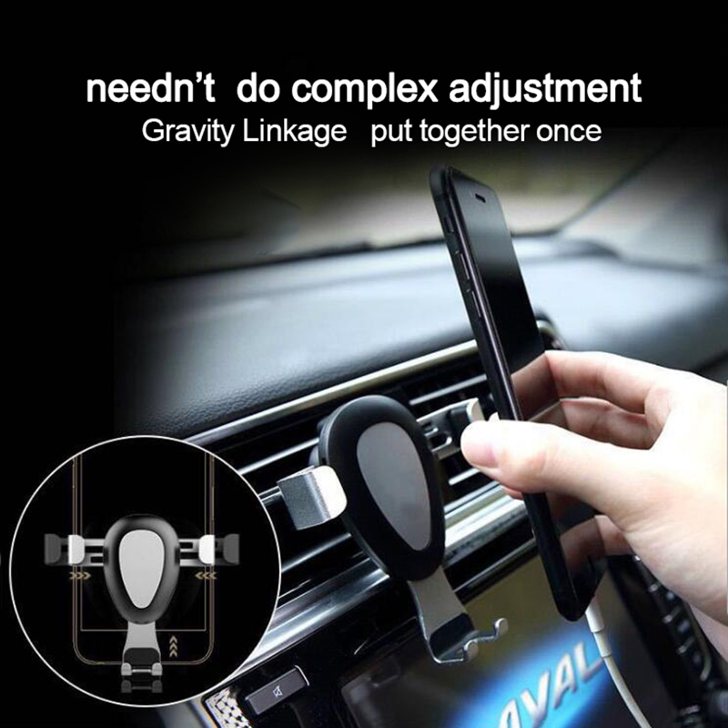 K306 Universal Gravity Car Mount Air Vent Cell Phone Holder Cradle - Silver