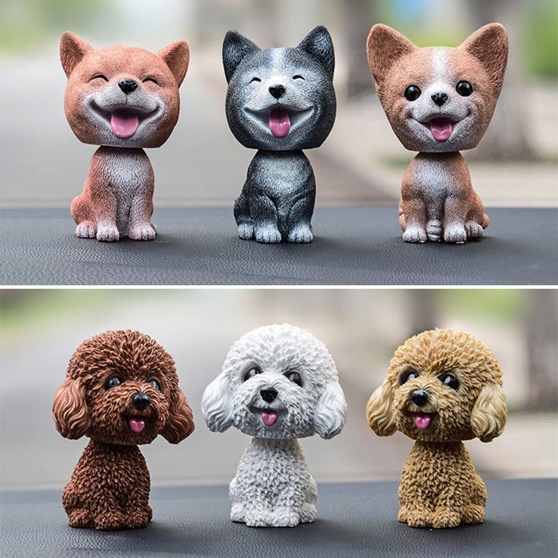 Baby Toys Cute Simulation Shaking Head Dog Puppy Toy Car Decoration Ornaments - Brown Teddy