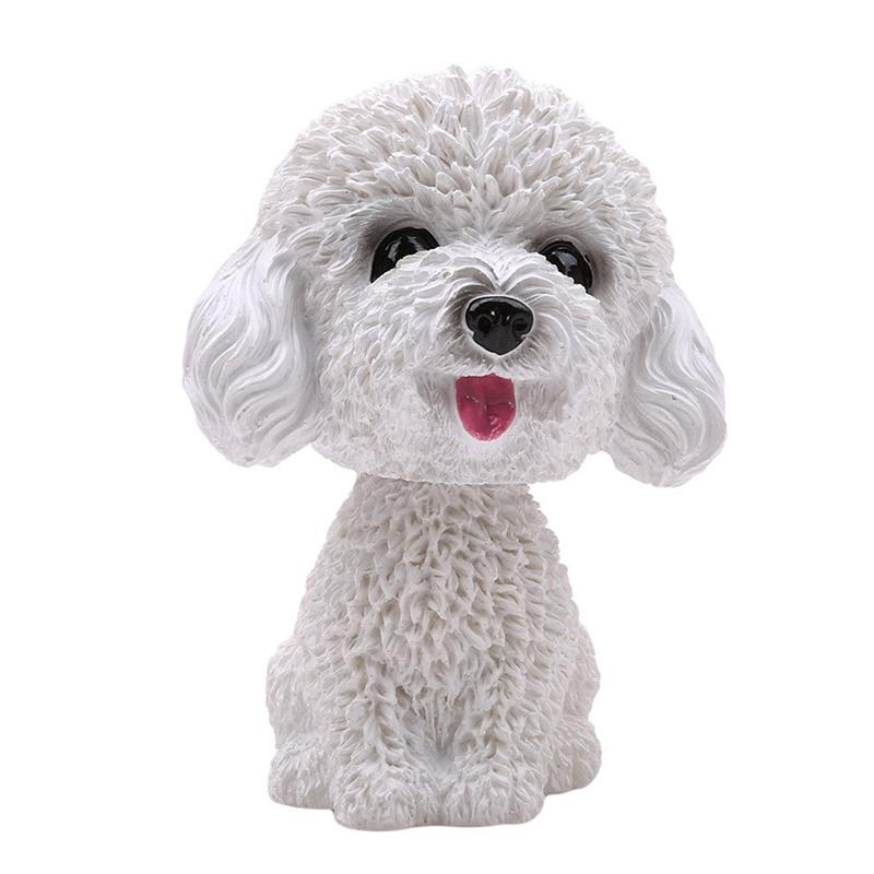 Baby Toys Cute Simulation Shaking Head Dog Puppy Toy Car Decoration Ornaments - White Teddy