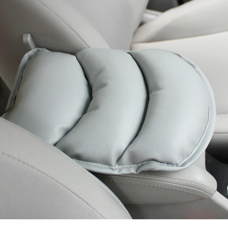Luxury Soft PU Leather Car Auto Armrest Pillow Pad Mat - Grey