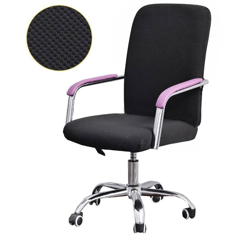 Polyester Stretch Rotating Split Chair Cover for Computer Office Size S - Black