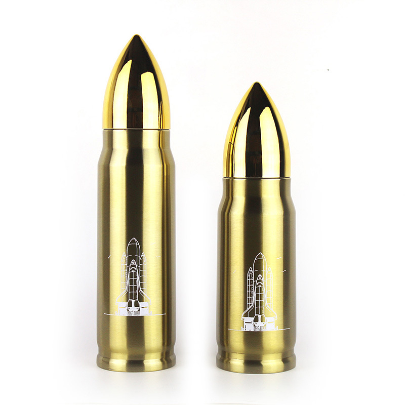 350ML Bullet Rocket Water Flask Stainless Double Wall Vacuum Heat Cold Insulated Bottle Cup - Golden