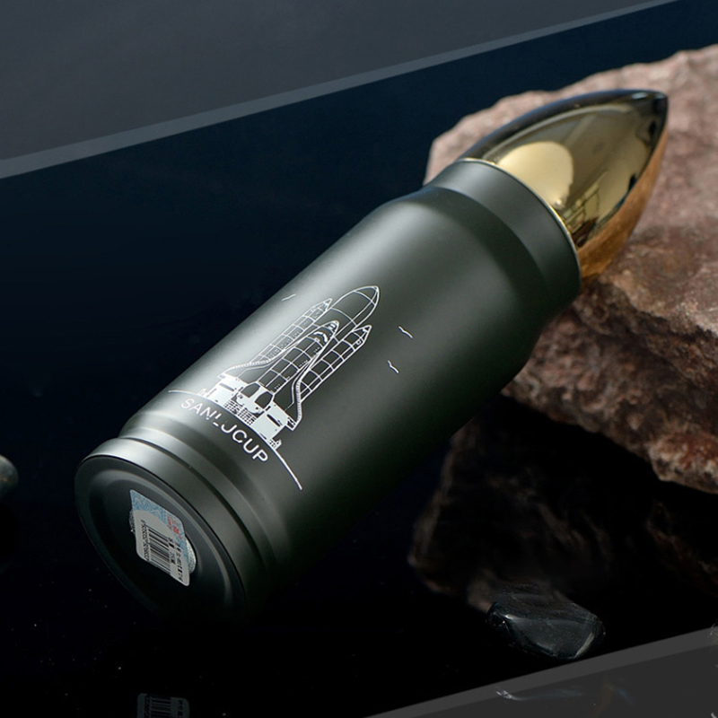 350ML Bullet Rocket Water Flask Stainless Double Wall Vacuum Heat Cold Insulated Bottle Cup - Army Green