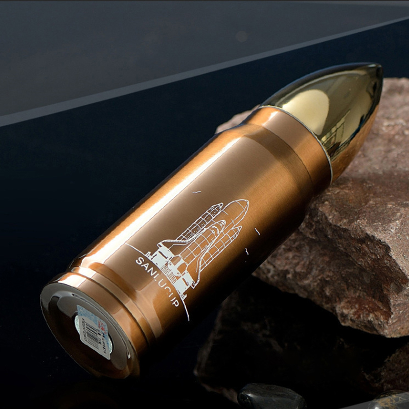 350ML Bullet Rocket Water Flask Stainless Double Wall Vacuum Heat Cold Insulated Bottle Cup - Copper