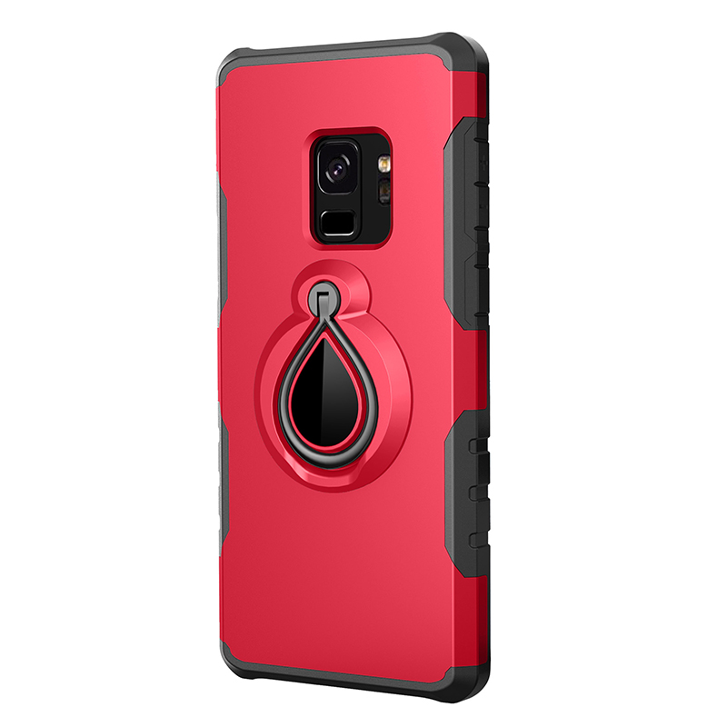 Hybrid Hard Protective Case with 360 Degree Kickstand Phone Case for Samsung S9 - Red