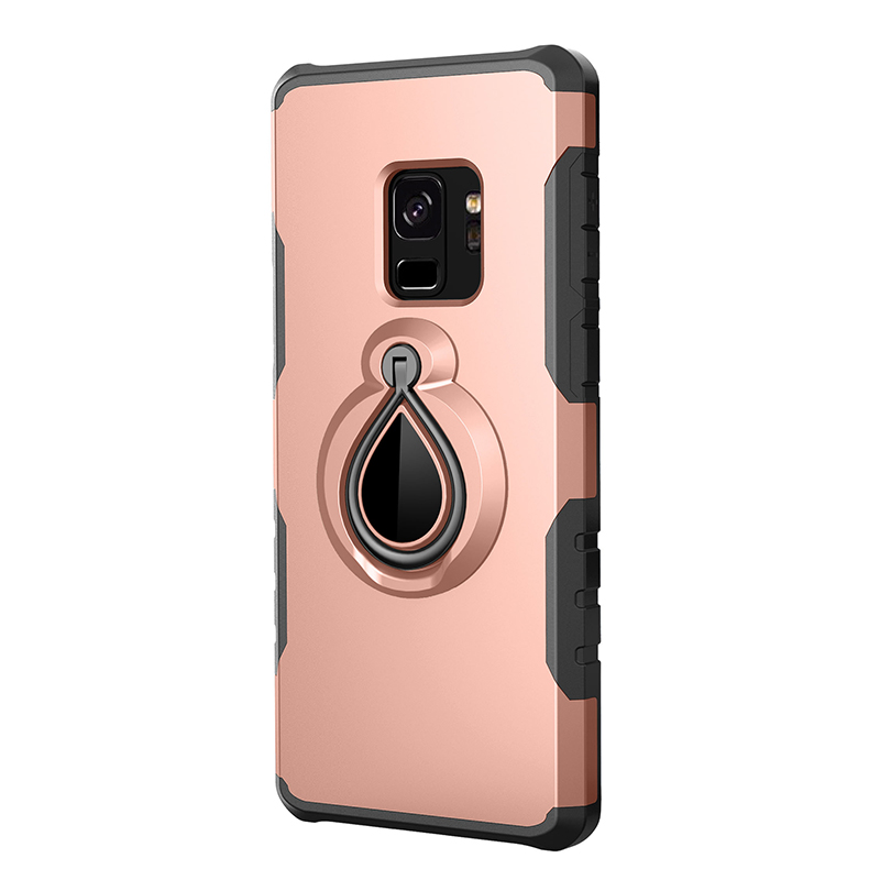 Hybrid Hard Protective Case with 360 Degree Kickstand Phone Case for Samsung S9 - Rose Gold