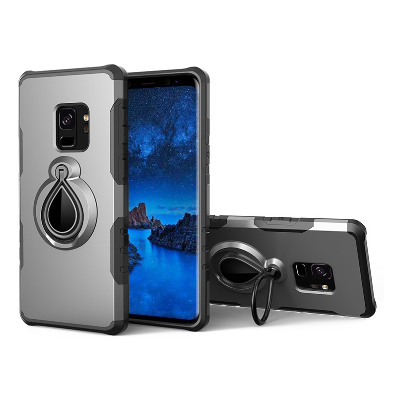 Hybrid Hard Protective Case with 360 Degree Kickstand Phone Case for Samsung S9 - Grey