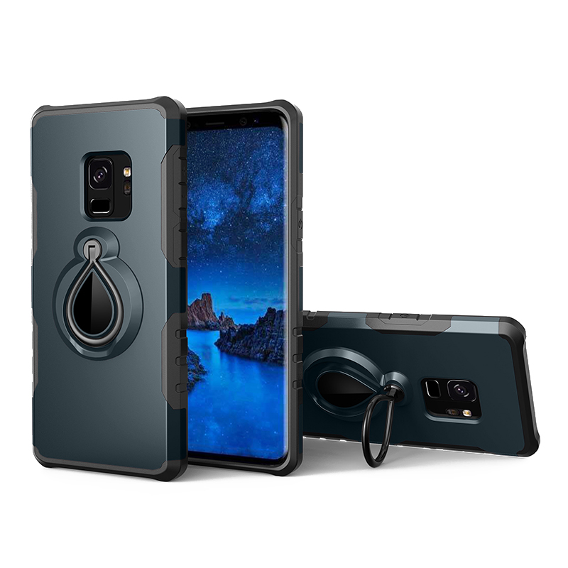 Hybrid Hard Protective Case with 360 Degree Kickstand Phone Case for Samsung S9 - Blue