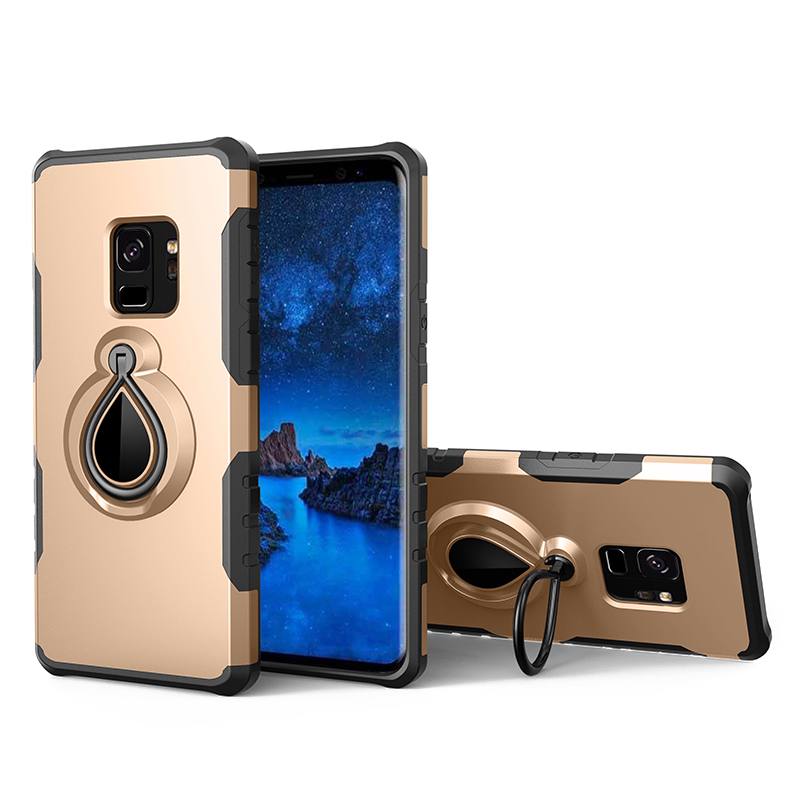 Hybrid Hard Protective Case with 360 Degree Kickstand Phone Case for Samsung S9 - Gold