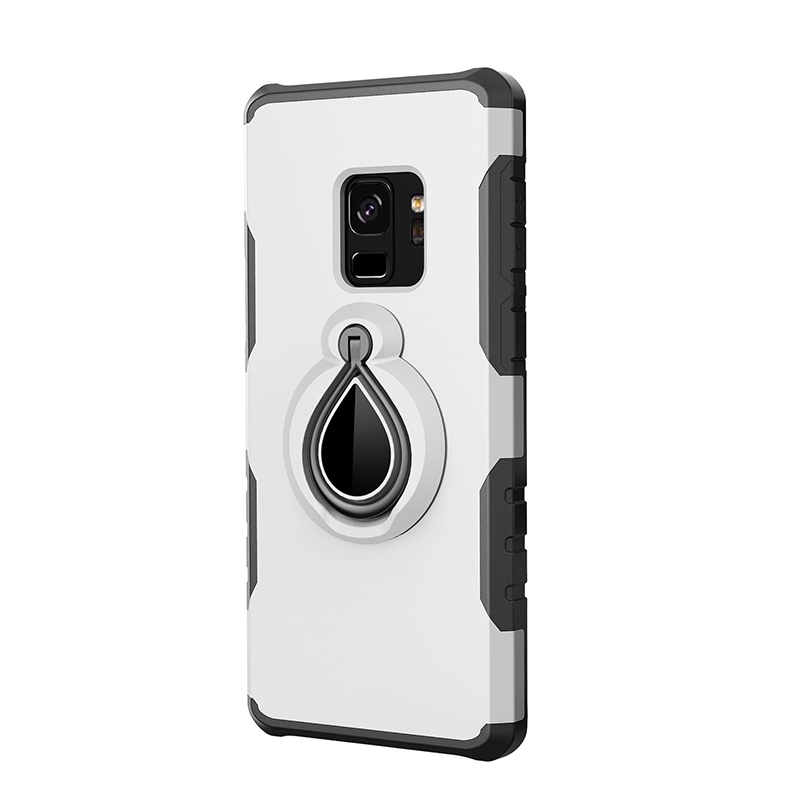 Hybrid Hard Protective Case with 360 Degree Kickstand Phone Case for Samsung S9 - Silver