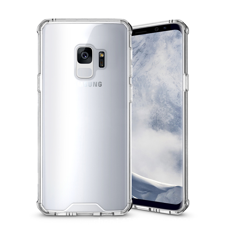 Samsung S9 TPU Bumper Grip Clear Hard Acrylic Phone Case Shell - Transparent