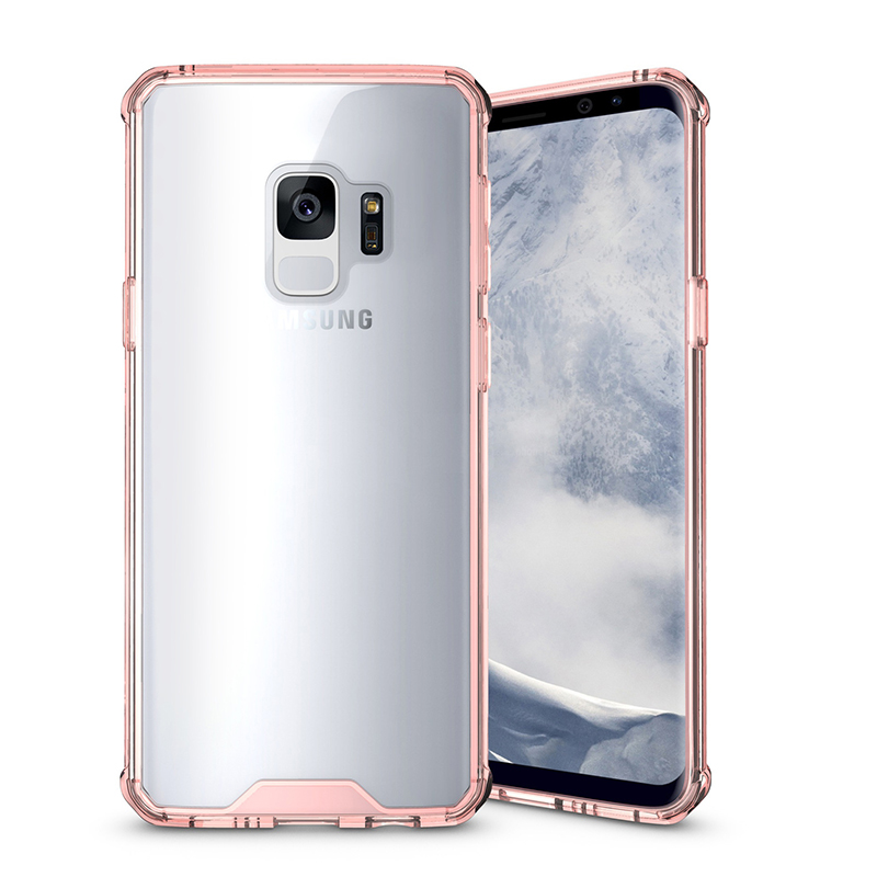Samsung S9 TPU Bumper Grip Clear Hard Acrylic Phone Case Shell - Pink