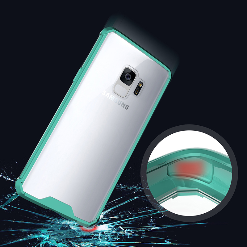 Samsung S9 TPU Bumper Grip Clear Hard Acrylic Phone Case Shell - Green