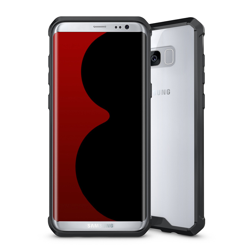 Acrylic Clear Hard Back Hybrid Bumper Cover Case for Samsung Galaxy S8 Plus - Black
