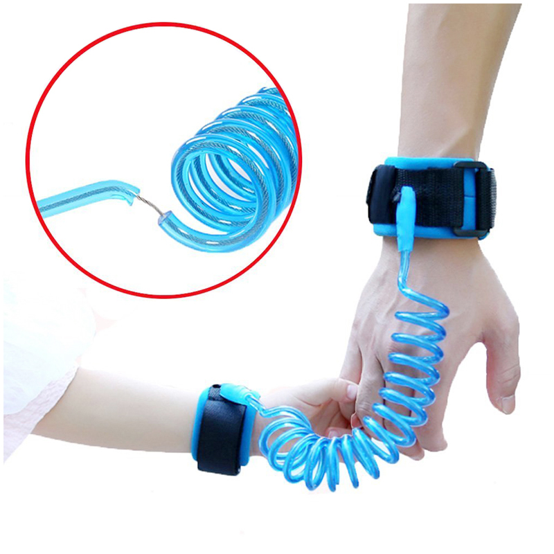 1.5M Child Kids Anti-lost Safety Leash Wrist Link Harness Strap Reins Traction Rope - Blue