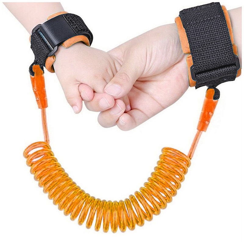 2M Kids Child Anti Lost Wrist Strap Harness Leash Safety Wristband Traction Hand Belt - Orange
