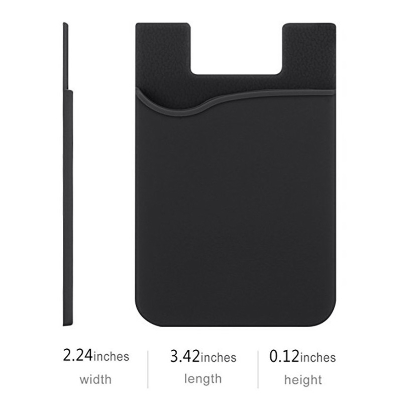 Cellphone Silicone Adhesive Credit Card Pocket Money Pouch Holder Case - Black