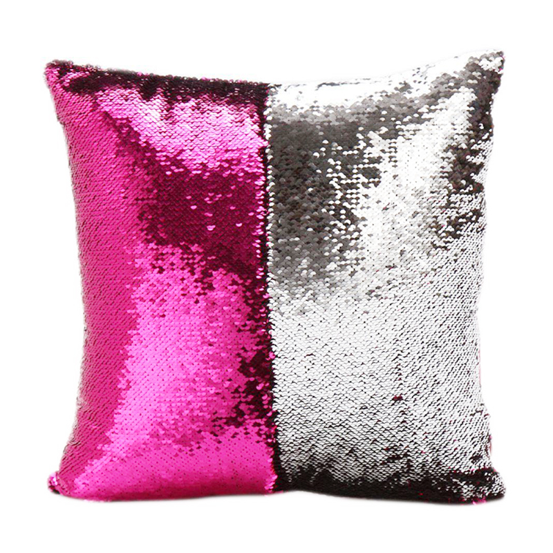 Magic Cushion Mermaid Pillow Case Reversible Sequin Glitter Pillow Cover - Rose Red+Silver