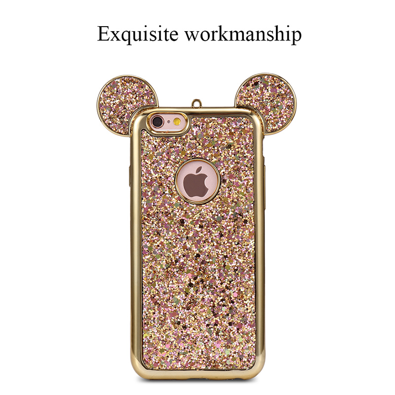 Bling Glitter Case Mickey Mouse Ears Soft TPU Case Back Cover for iPhone 6/6S - Gold