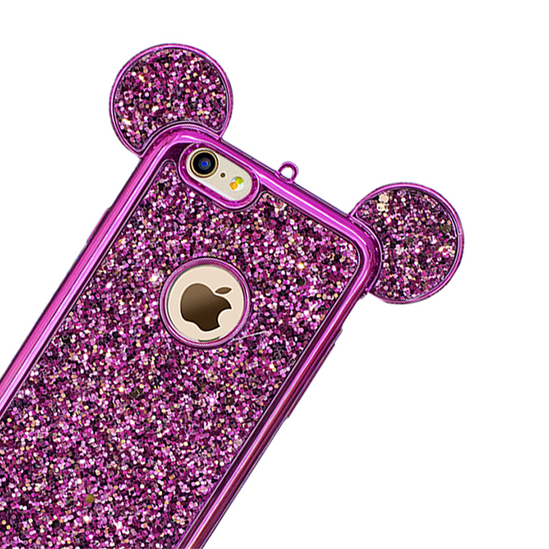 Bling Glitter Case Mickey Mouse Ears Soft TPU Case Back Cover for iPhone 6/6S - Rose Red