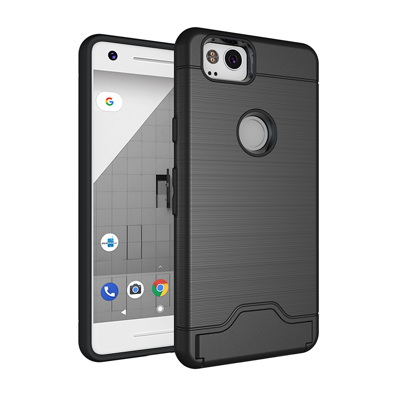 Ultra Thin Metal Brushed Phone Case Cover with Card Slot for Google Pixel 2 - Black