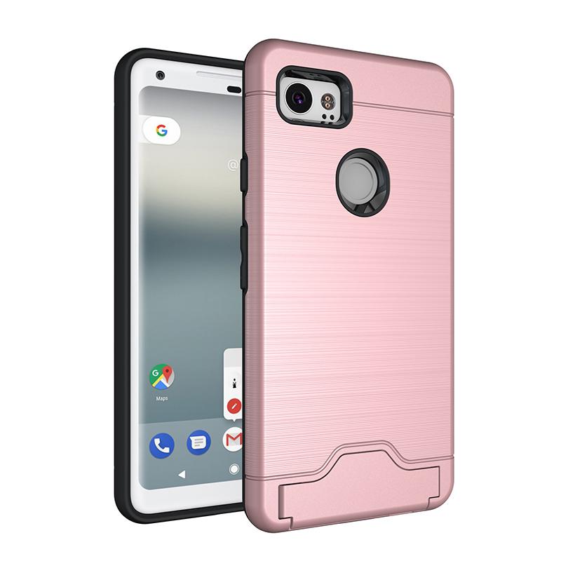 Brushed Metal Hard Back Case Card Slot Phone Cover Case for Google Pixel 2XL - Rose Gold