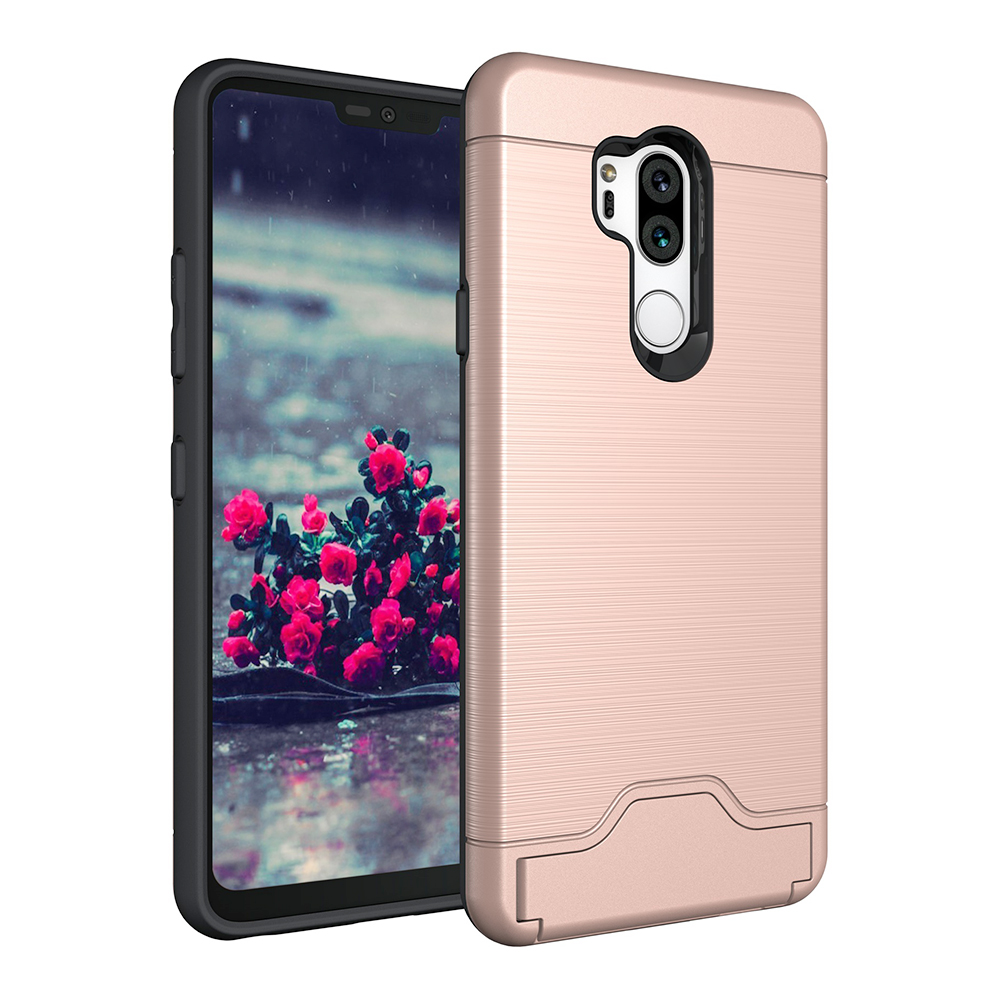 PC+TPU Bump Hybrid Shockproof Card Holder Back Cover Case with Kickstand Function for LG G7 - Rose Golden