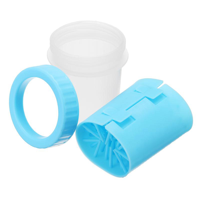 Pet Paws Washer Wash Cup Tools Silicone Pet Brush Cleaner Size L - Blue