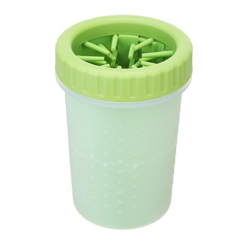 Pet Paws Washer Wash Cup Tools Silicone Pet Brush Cleaner Size L - Green