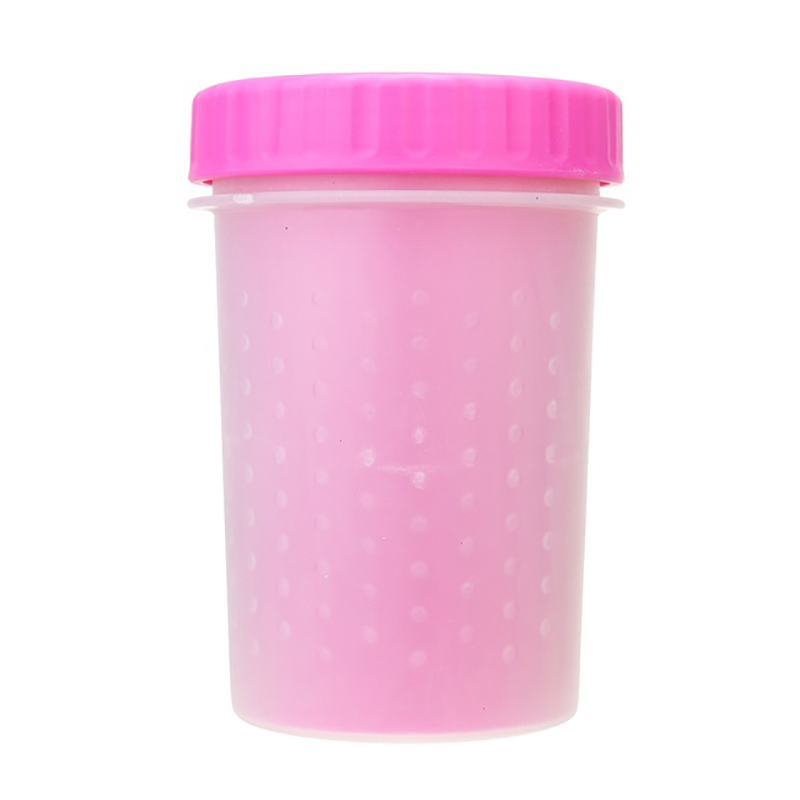 Pet Paws Washer Wash Cup Tools Silicone Pet Brush Cleaner Size S - Pink