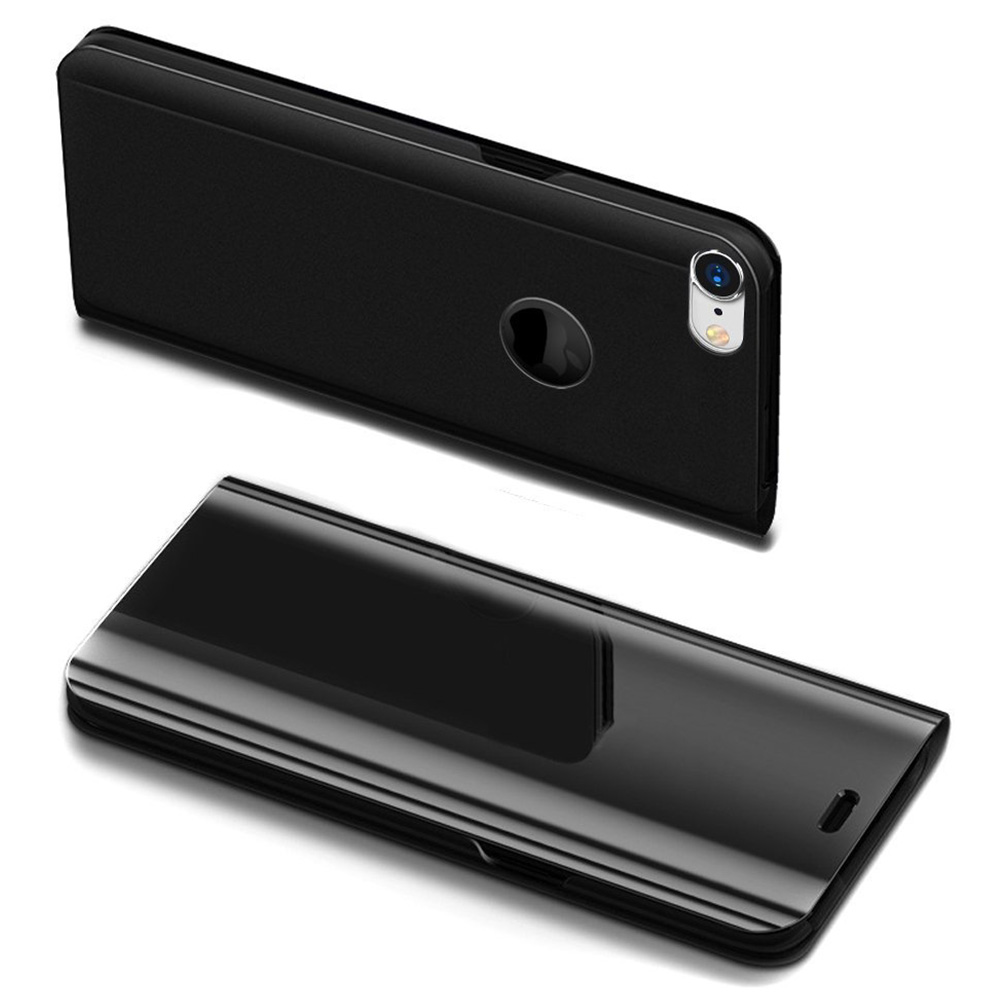 Ultra-slim Mirror Plating Case Shockproof Flip Stand Cover for iphone7/8 - Black