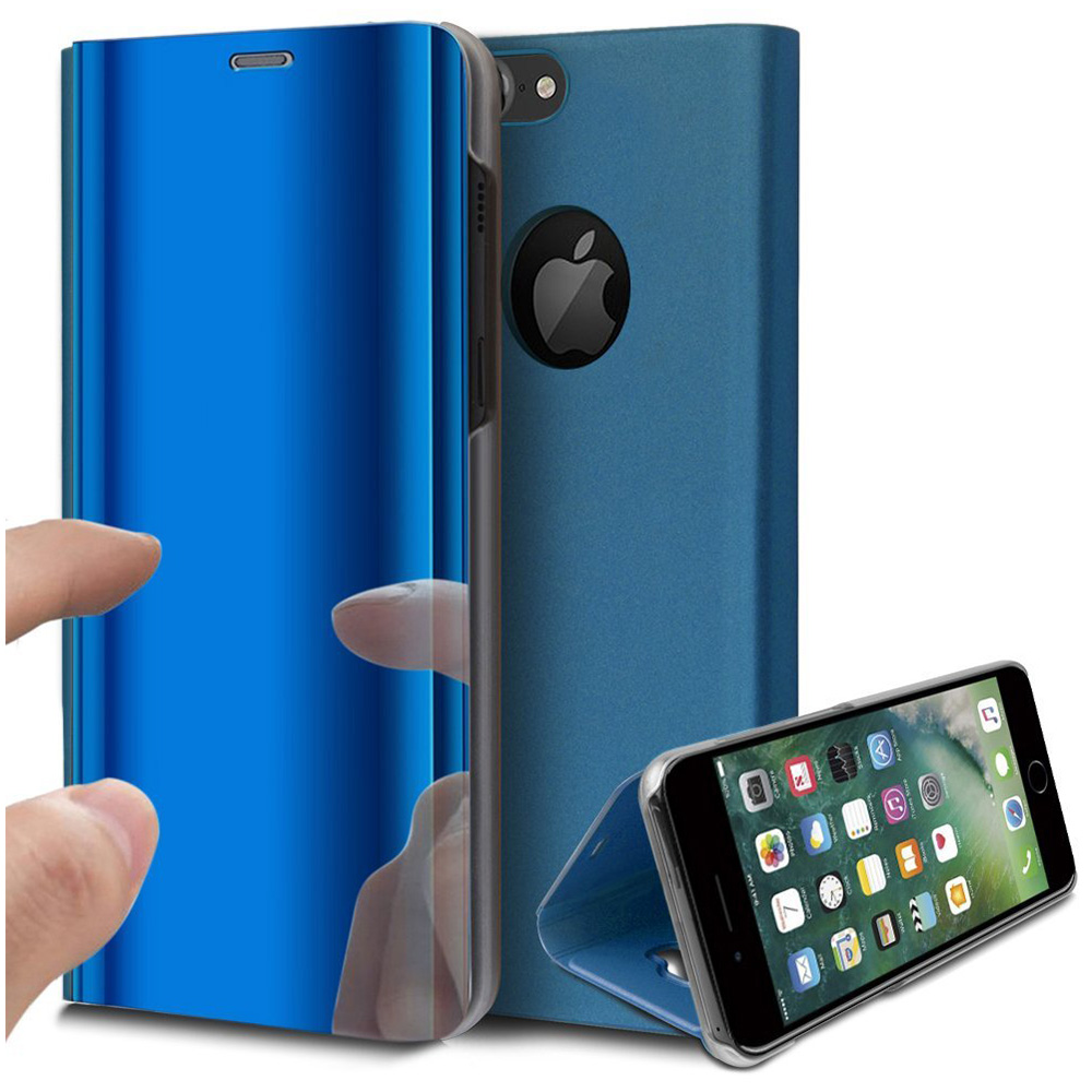 Slim Luxury Plating Mirror Flip Stand Protective Case Cover for iphone7/8 Plus - Blue