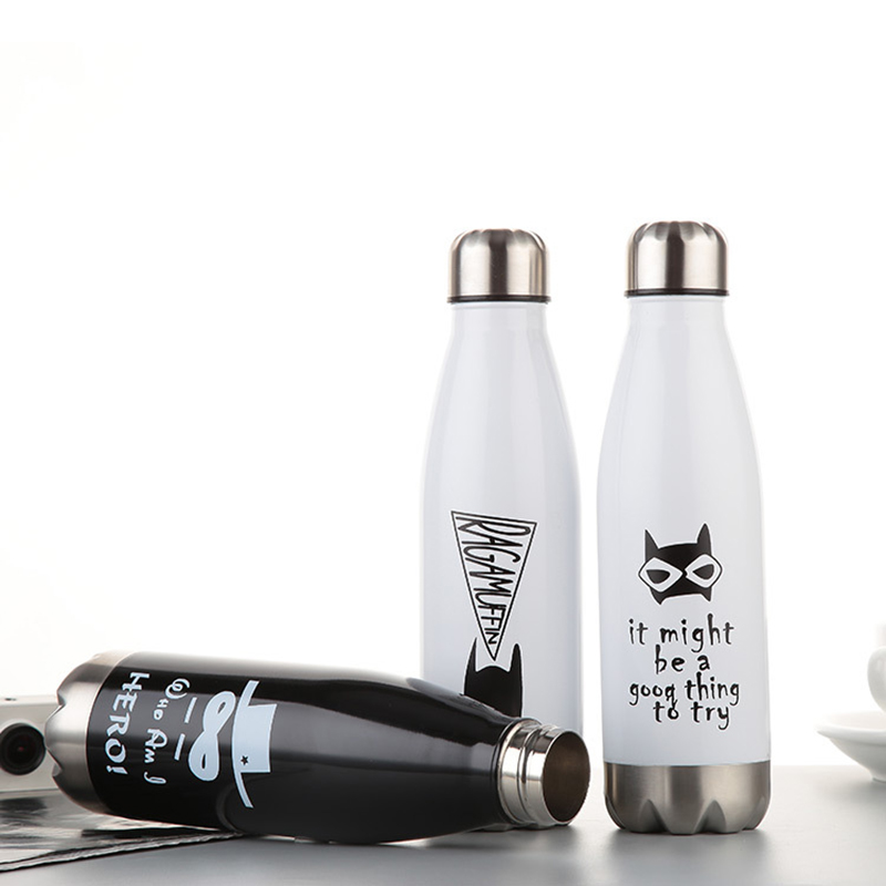 500ML Water Bottle Vacuum Cartoon Sport Insulated Flask Thermal Cold Cups - White Cat
