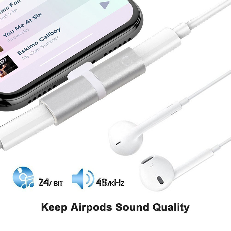 2 in 1 Lightning Splitter Adapter Headphone Jack Audio Charge Adapter for iPhone 7/8/X - Silver