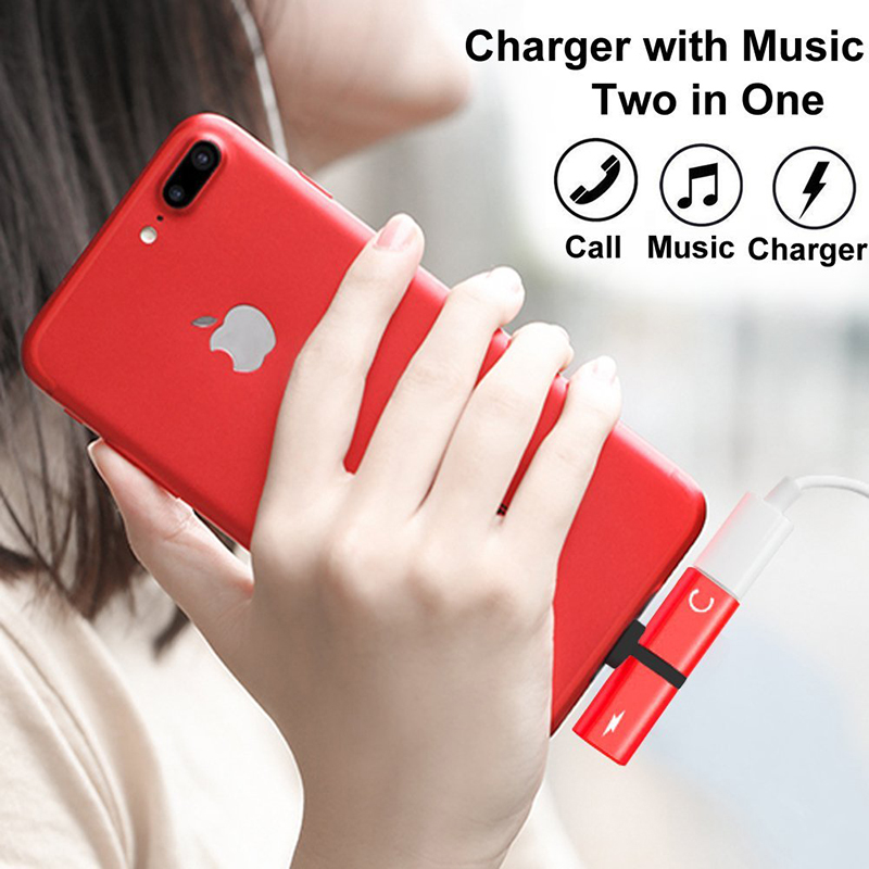 2 in 1 Lightning Splitter Adapter Headphone Jack Audio Charge Adapter for iPhone 7/8/X - Red