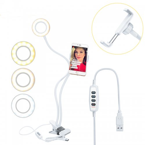 Selfie LED Light Ring with Phone Holder Stand Clip for Live Stream Makeup