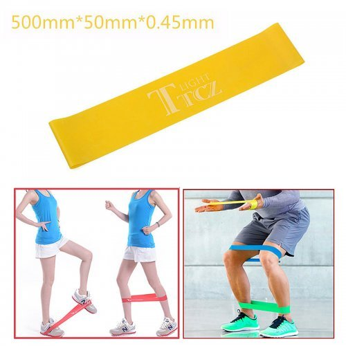 Exercise Fitness Resistance Bands Yoga Pilates Loop Training Crossfit Gym Strap 500*50*0.45mm - Yellow