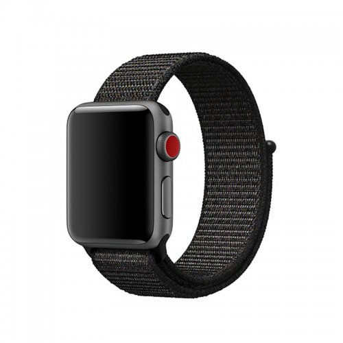 38mm Apple Watch Band Sports Loop Woven Nylon Watchband Strap for iWatch Series 3/2/1 - Black