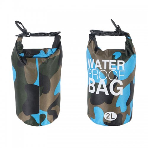 2L Camouflage Waterproof Backpack Dry Bag Pouch for Sports Boating Camping Hiking - Light Blue