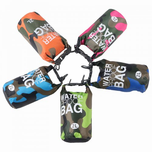 2L Camouflage Waterproof Backpack Dry Bag Pouch for Sports Boating Camping Hiking - Royal Blue