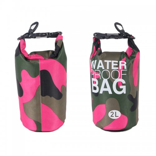 2L Camouflage Waterproof Backpack Dry Bag Pouch for Sports Boating Camping Hiking - Rose Red
