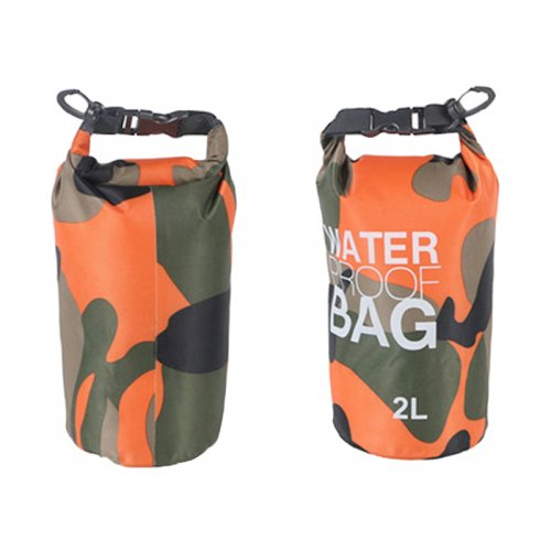2L Camouflage Waterproof Backpack Dry Bag Pouch for Sports Boating Camping Hiking - Orange