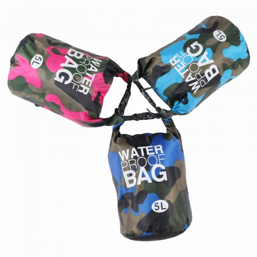 5L Waterproof Dry Bag Ultralight Camouflage Outdoor Pouch Organizer for Drifting Swimming Camping - Light Blue