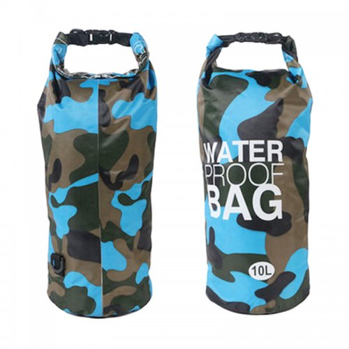 10L Camouflage PVC Waterproof Dry Bag Pouch Backpack Organizer for Outdoor Sports - Light Blue