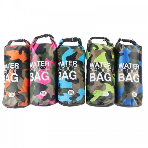 10L Camouflage PVC Waterproof Dry Bag Pouch Backpack Organizer for Outdoor Sports - Green