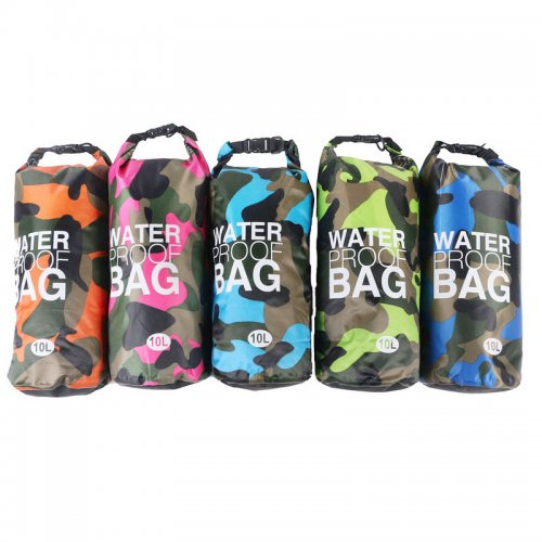 10L Camouflage PVC Waterproof Dry Bag Pouch Backpack Organizer for Outdoor Sports - Orange