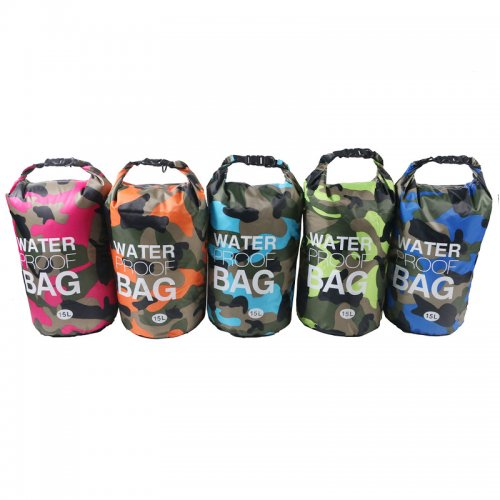 15L Camouflage Waterproof Dry Bag Pouch with Adjustable Strap for Beach Drifting Hiking Swimming - Light Blue