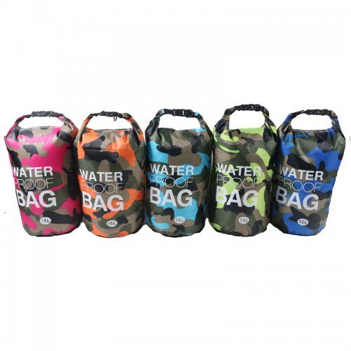 15L Camouflage Waterproof Dry Bag Pouch with Adjustable Strap for Beach Drifting Hiking Swimming - Rose Red