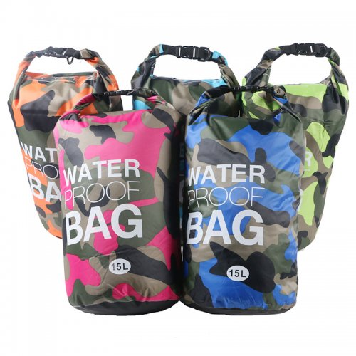 15L Camouflage Waterproof Dry Bag Pouch with Adjustable Strap for Beach Drifting Hiking Swimming - Orange