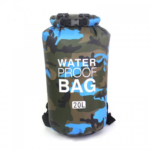 20L Camouflage Waterproof Bag Compression Sack Storage Dry Pouch for Boating Drifting Beach - Light Blue